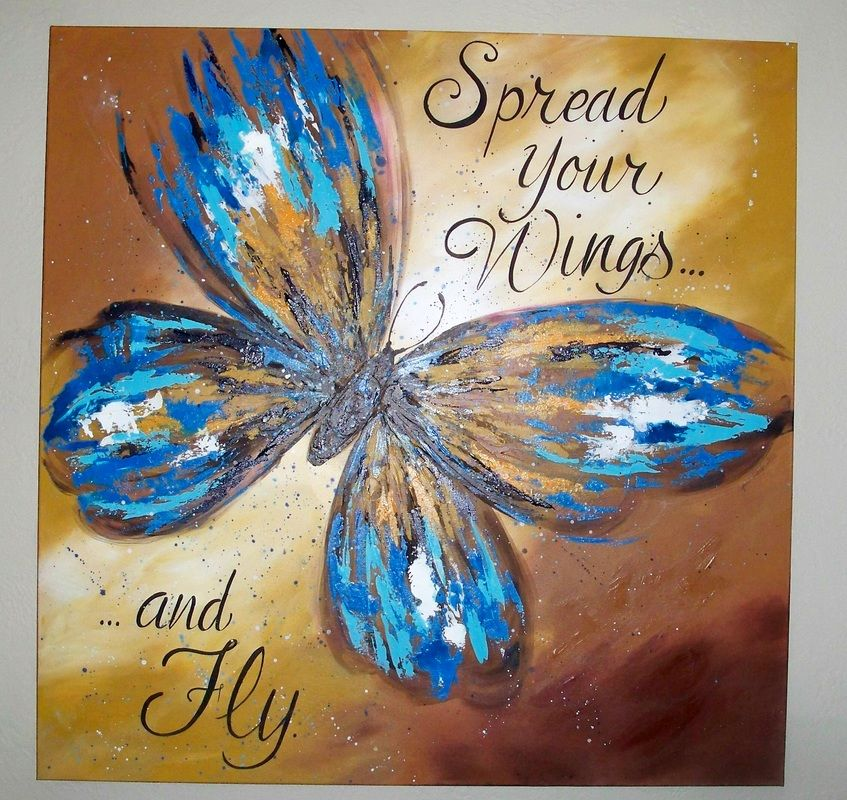 3' x 3' butterfly painted on canvas | Acrylic Paintings ...