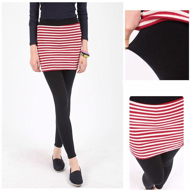RED KHAKI BLUE Stripe Skirt Leggings Border Marine Fleece Winter Leggings  #Unbranded