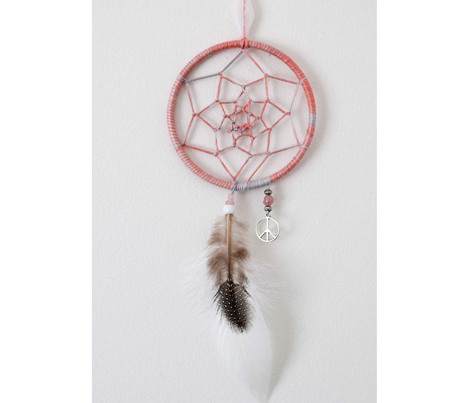 Peace Sign Decor For Bedroom Small Boho Dreamcatcher Peach Grey Dream Catcher Bedroom Decor