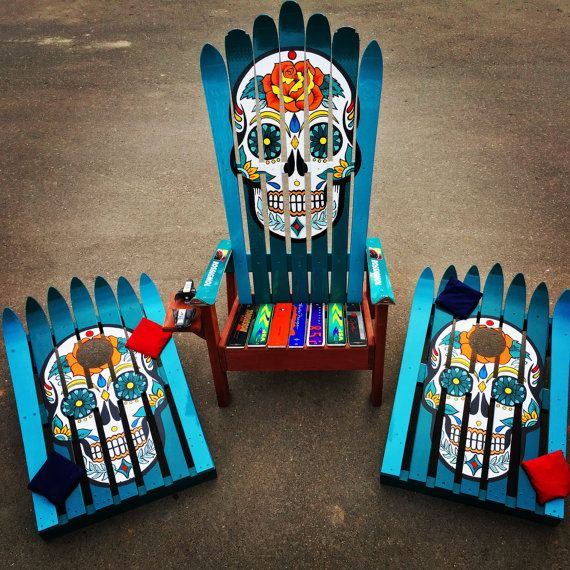 Beau Mexican Sugar Skull/ Day Of The Dead Ski By ColoradoSkiChairs