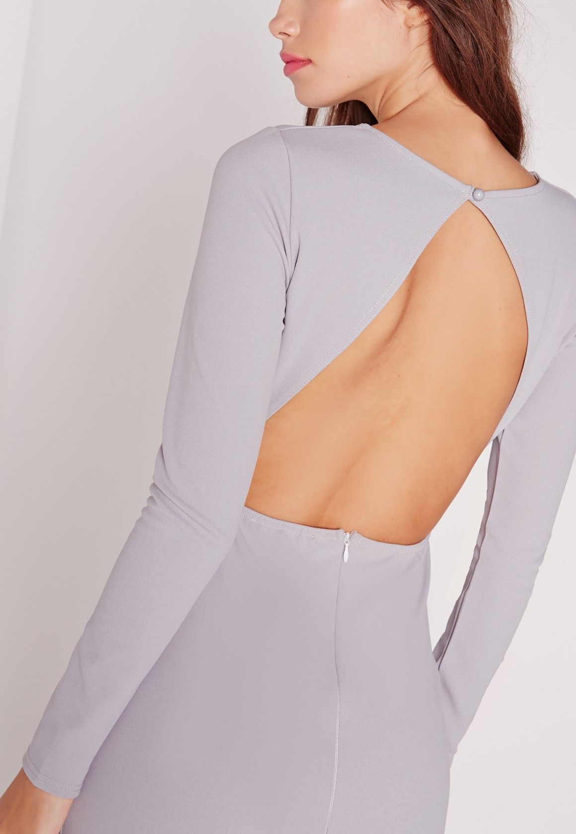 Long sleeve open back maxi dress grey style skirts u dresses