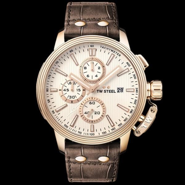 TW STEEL CEO ADESSO 45MM ROSE GOLD CHRONO BROWN LEATHER WATCH