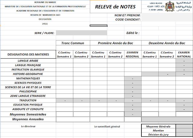نموذج بيان النقط للسنة الأولى والثانية من سلك البكالوريا بالنسبة للحاصلين على البكالوريا Relive De Note الخاص بمباراة الدرك الملكي Relive Notes