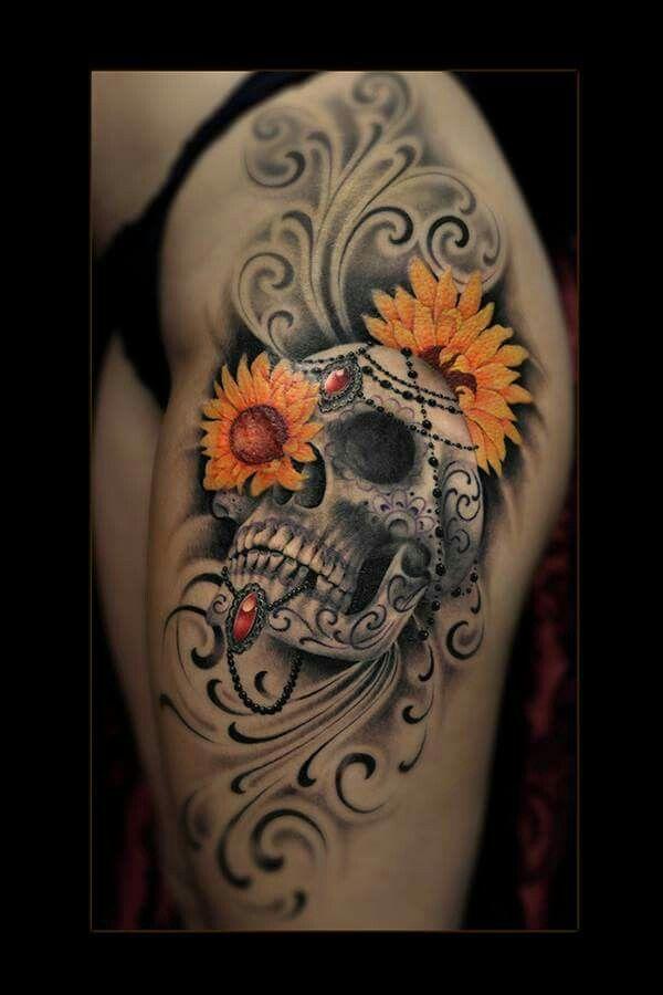 Photo of Schädel mit 2 Sonnenblumen, meine 2 Lieblingssachen –  Schädel mit 2 Sonnenblu…