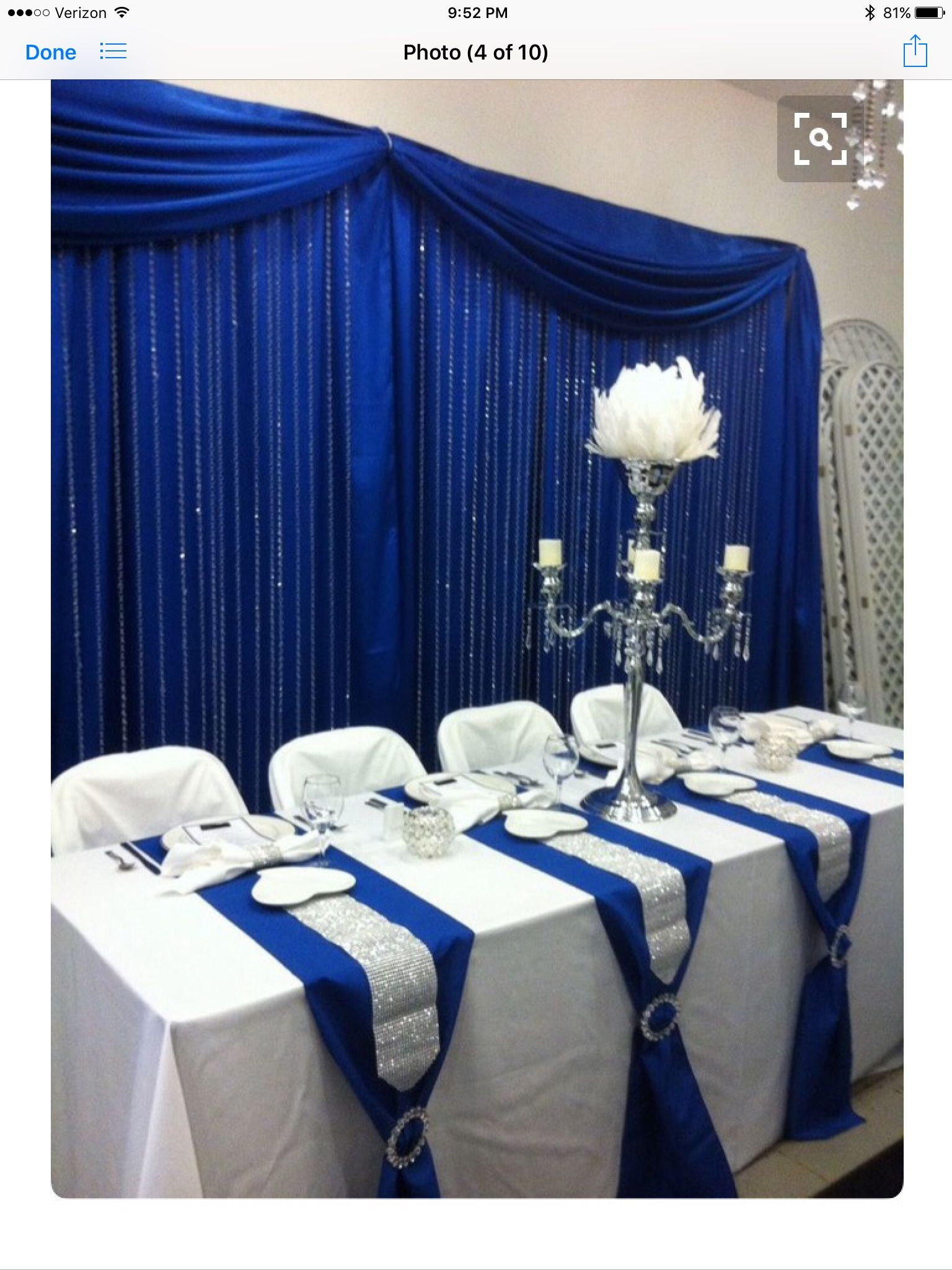 Table Runner Decor Royal Blue Wedding Decorations Blue Wedding