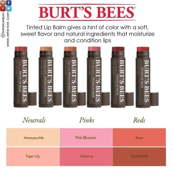 Burt S Bees Tinted Lip Balm Gives A Hint Of Color With A Soft Sweet Flavor And Natural Ingredients That Moistur Tinted Lip Balm Burts Bees Lip Balm Lip Tint