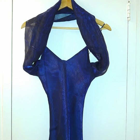 Deep blue prom homecoming dress The pictures don't do this dress any justice. Fully lined, sheer layer of snakeskin pattern shimmery dark blue organza. Spaghetti straps, deep v neck, straight back. Super long (~64in) so you can wear it with heels. Comes with stole 20x57in. Waist ~34 in, hip ~42 in. Simple and elegant. Dresses Prom