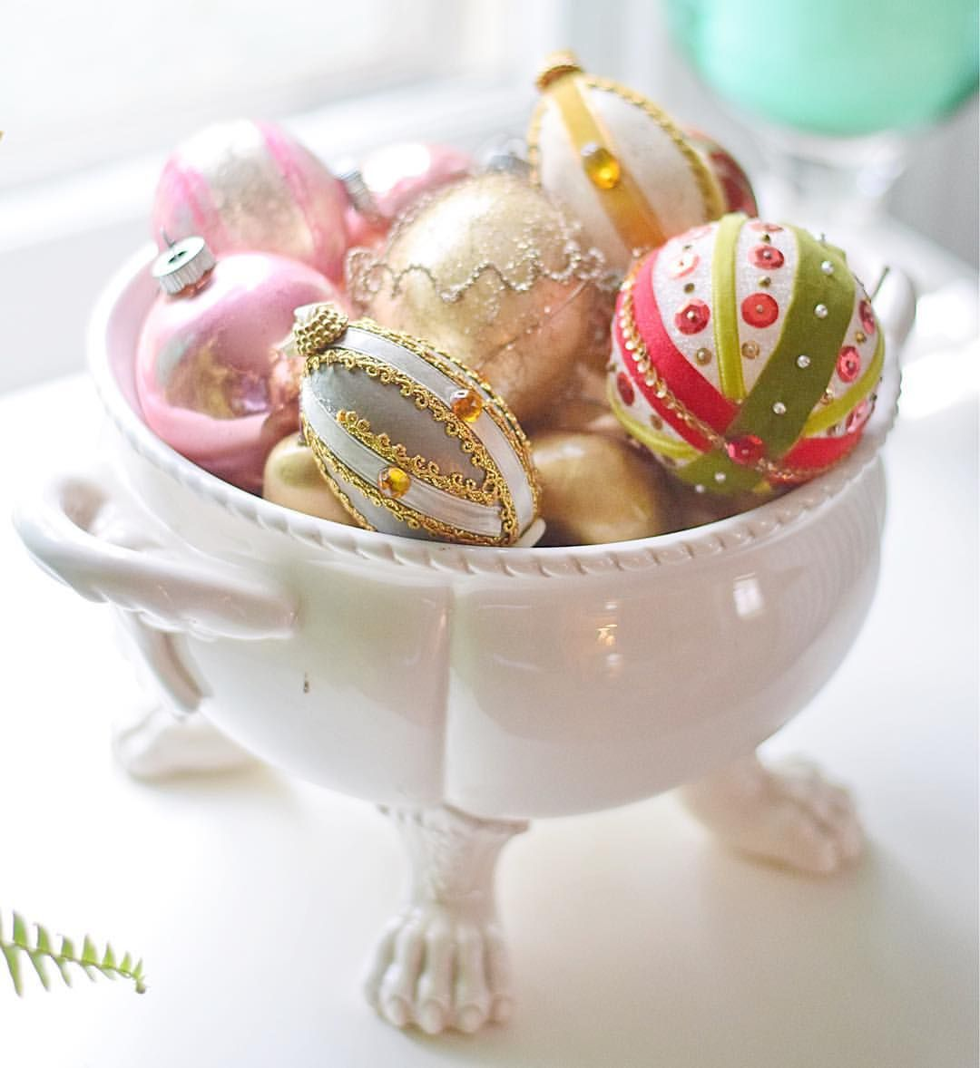 Vintage ornaments in porcelain tureen