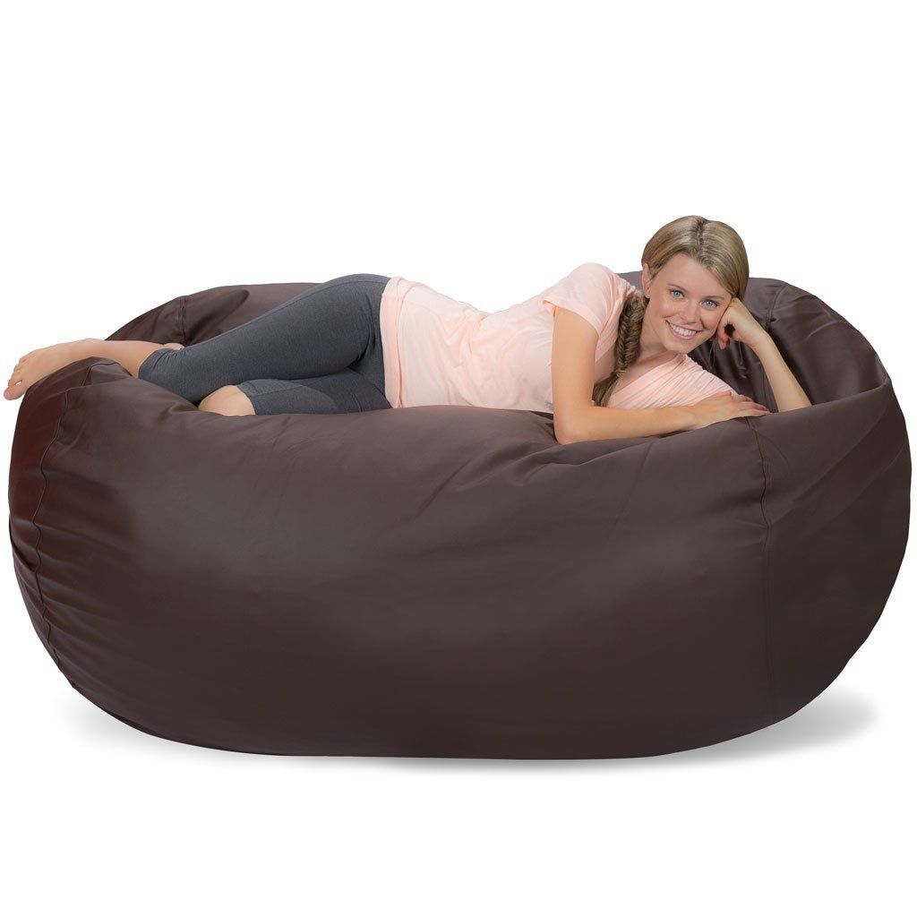 Awesome Comfy Sacks 6 Ft Lounger Memory Foam Bean Bag Chair Brown Pabps2019 Chair Design Images Pabps2019Com