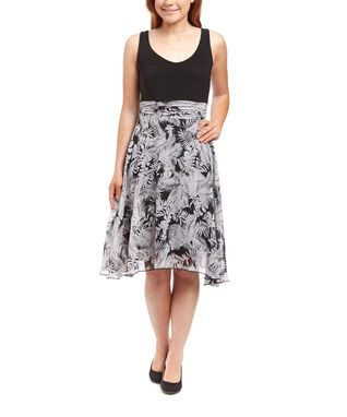 Black & White Tropical Chiffon Empire-Waist Dress - Women & Plus