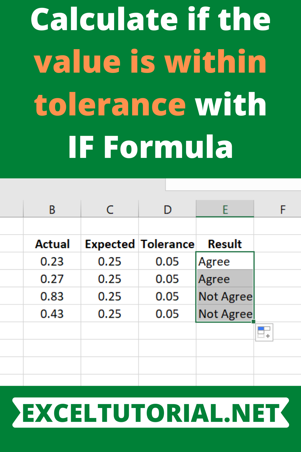 Calculate if the value is within tolerance with IF Formula