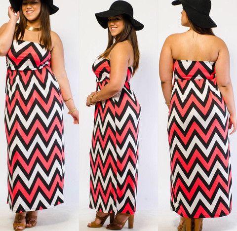 Plus Size Neon Pink Black And White Chevron Tube Boho Chic Maxi