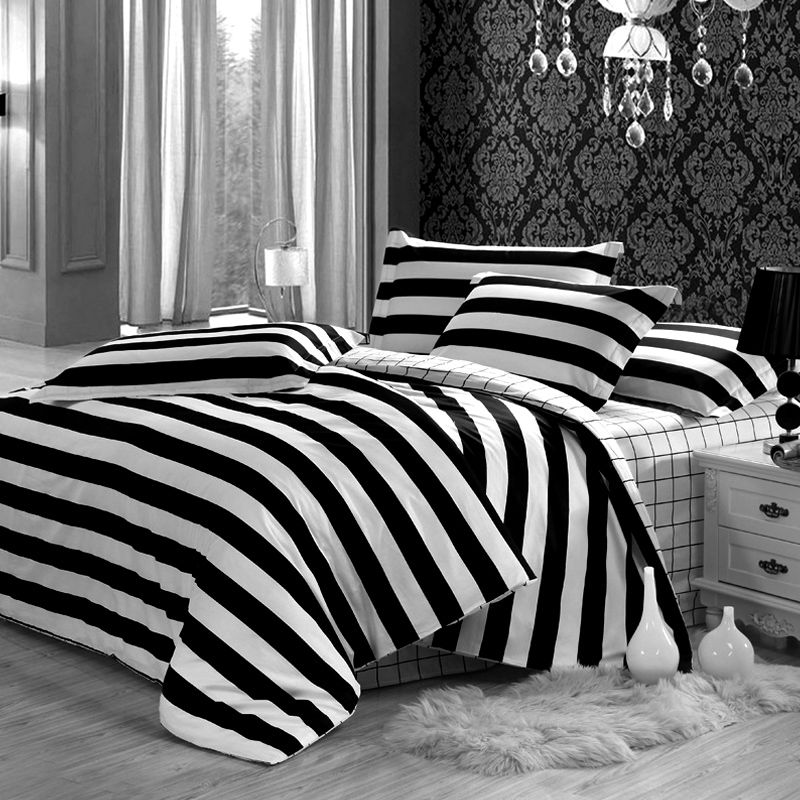 Merveilleux Black And White Striped Bed Sheets Eloinbb