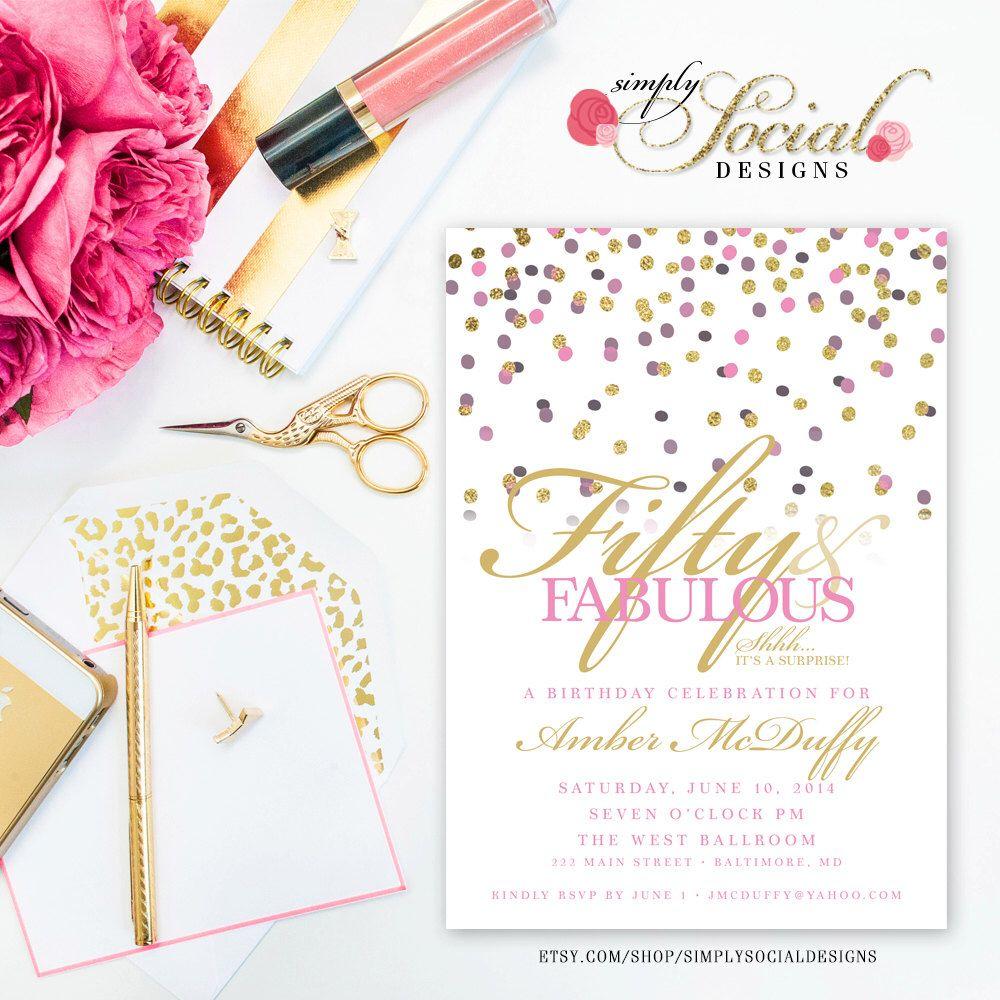 Confetti Surprise 50th Birthday Invitation - 60th 50th 40th 30th ...