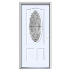 Jeld-Wen Hutton 2-Panel Insulating Core Oval Lite Left-Hand Inswing Primed White Steel Painted Prehung Entry Door (Commo