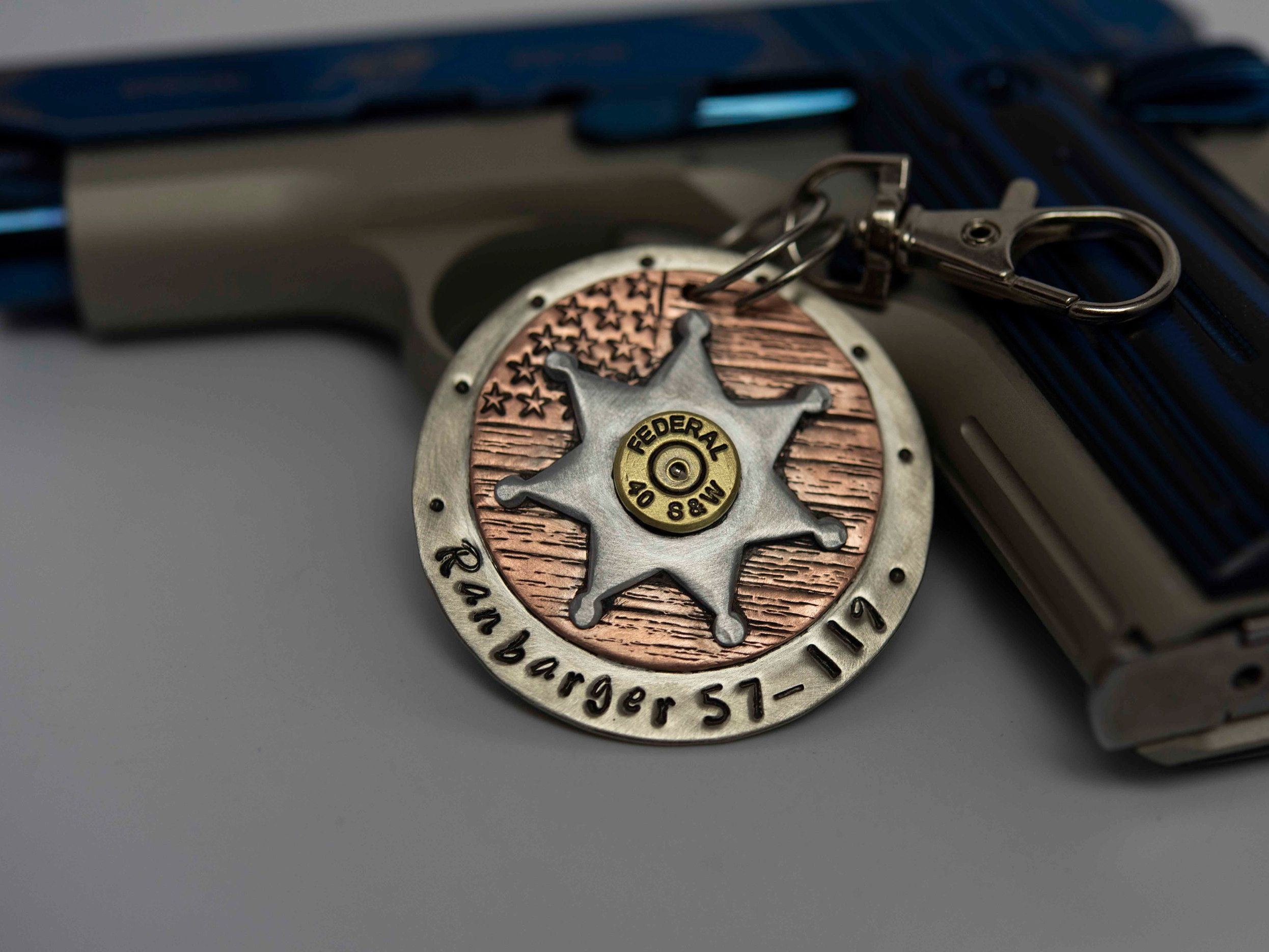 Custom Sheriff deputy badge keychain, personalized dog tag