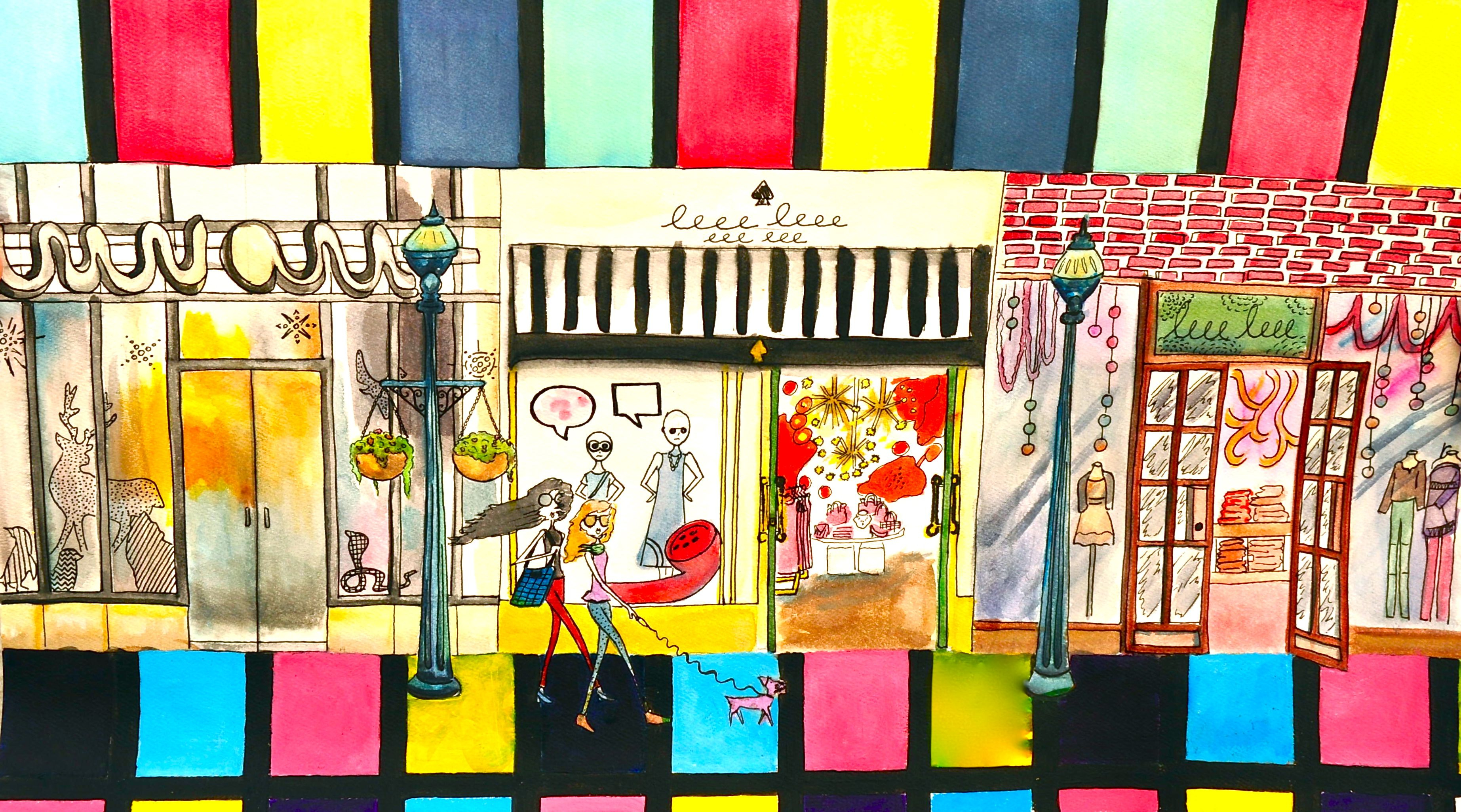 Original by Gloria E. The Happy Feeling of Shopping. Water color. Colorful. Acrylic. Color block. mall. outlet.