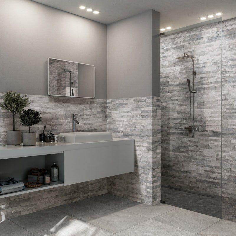 Bolsena Grey Split Face Stone Effect Matt Wall Tile 150mm X 610mm Bathroom Feature Wall Bathroom Wall Tile Stone Tile Bathroom
