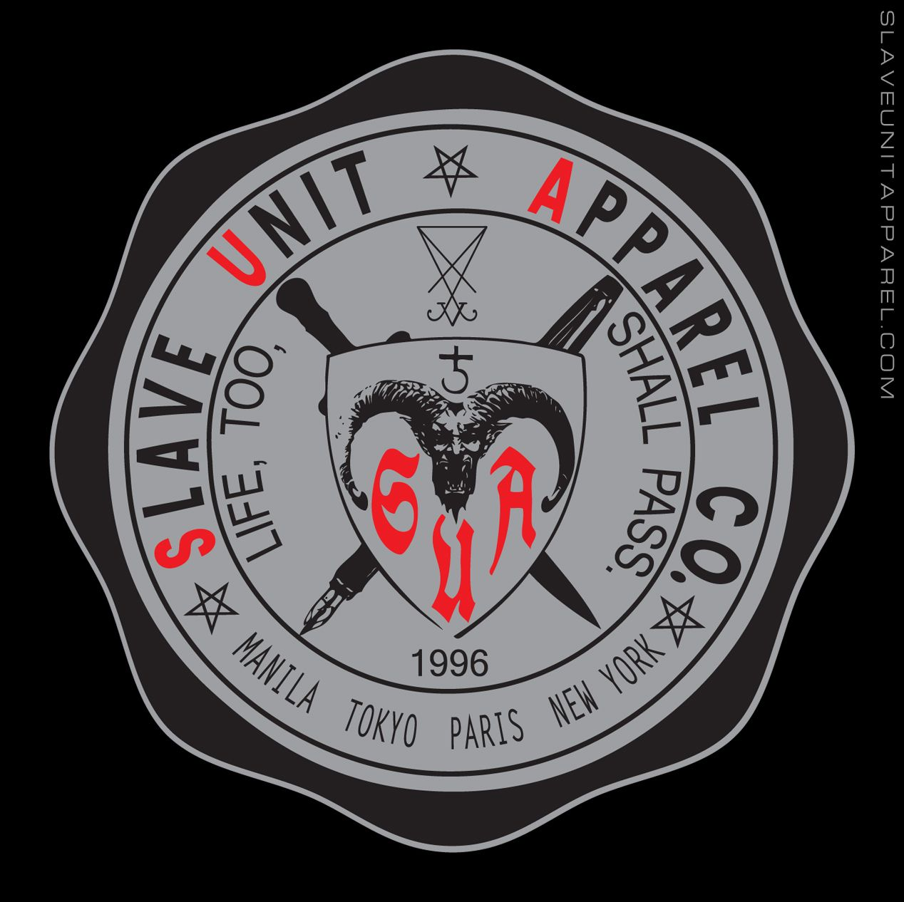 """The Slave Unit Apparel School Seal Tee's embellishments include a demon which represents past experiences that build character, the proverbial pen (words) and sword - both known to cut deep and sever - and the phrase """"Life, too, shall pass"""" as a homage to mortality. Inspired by Catholic school seals and labor union logos. Available for a limited time because nothing in life is permanent. Please support small businesses.  tshirt alternative alt slaveunitapparel metal streetstyle streetwear…"""