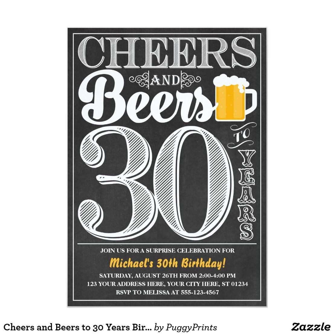Invitation Acclamations et bières à 30 ans d'invitation | Zazzle.fr | Anniversaire bière, Thèmes ...