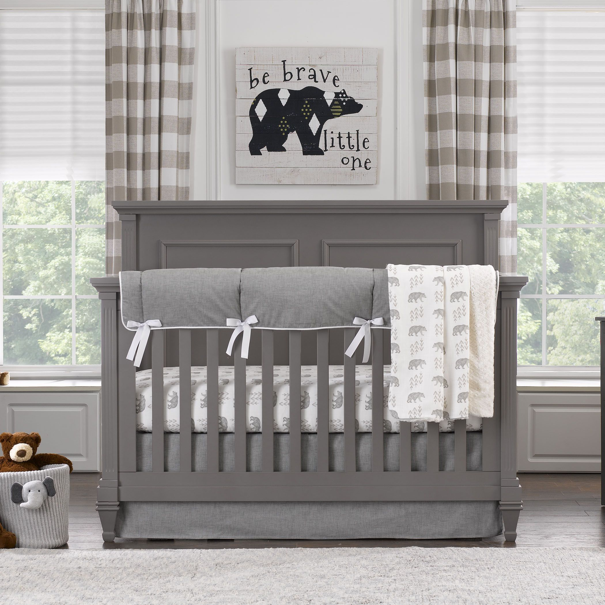 Cubby Gray Crib Bedding Collection Woodland Baby Bedding Crib