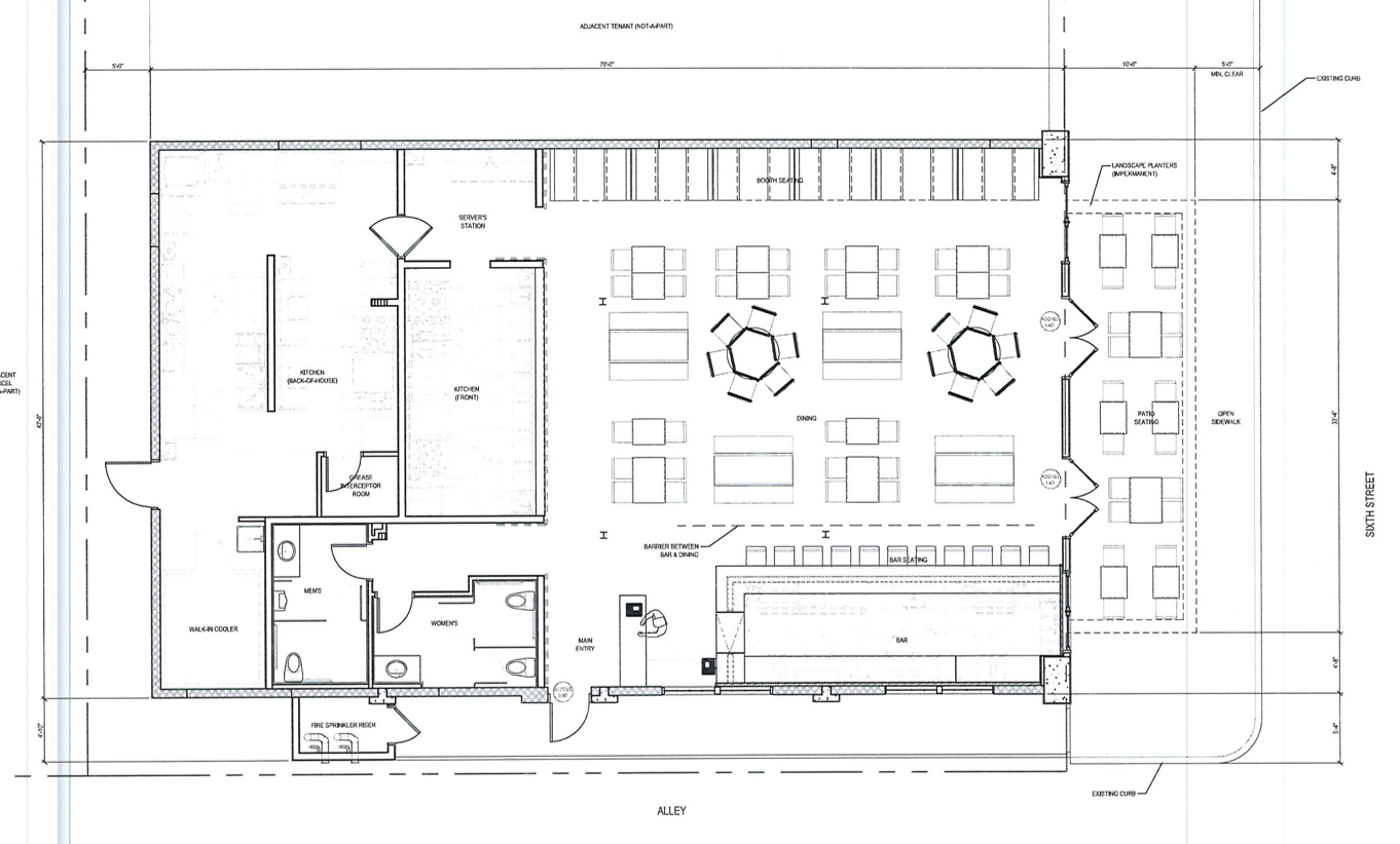 Chuck's (or Tucker's) Bar Layout Floor Plan , Except Stage