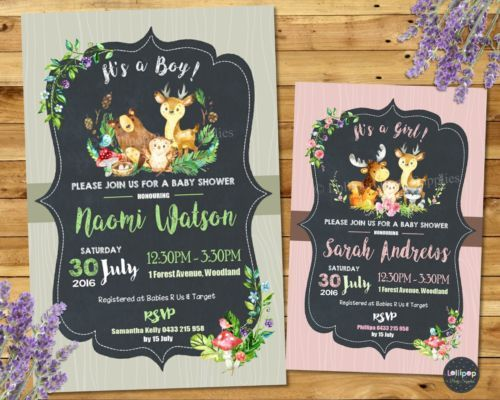 Whimsical woodland animals personalised baby shower invitations from Lollipop Party Designs.  http://www.lollipoppartysupplies.com.au