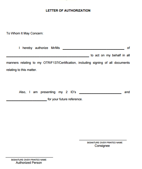 5+ Authorization Letter Samples To Act on Behalf - Word