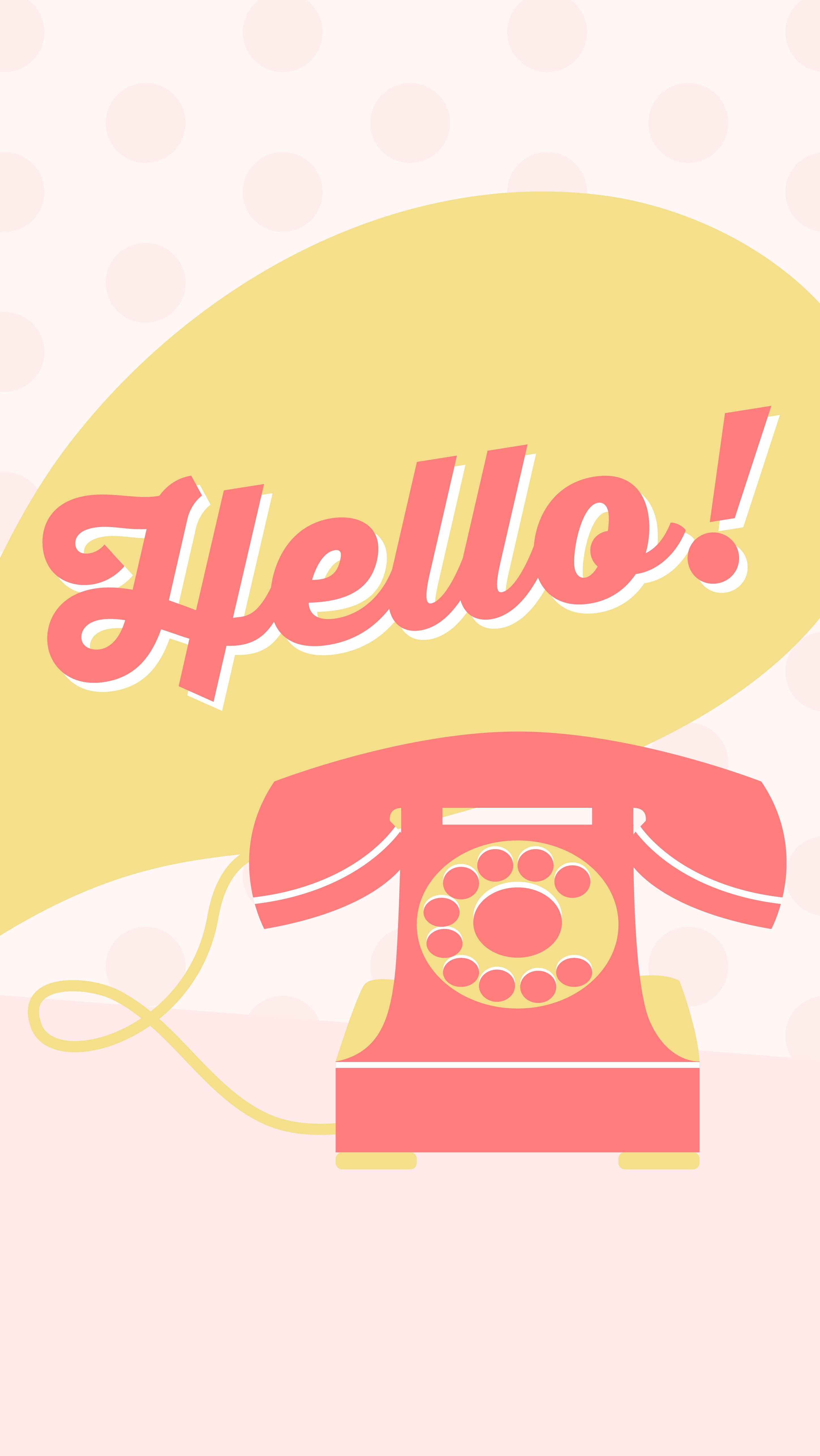 Pastel Pink Yellow Coral Hello Vintage Telephone Phone
