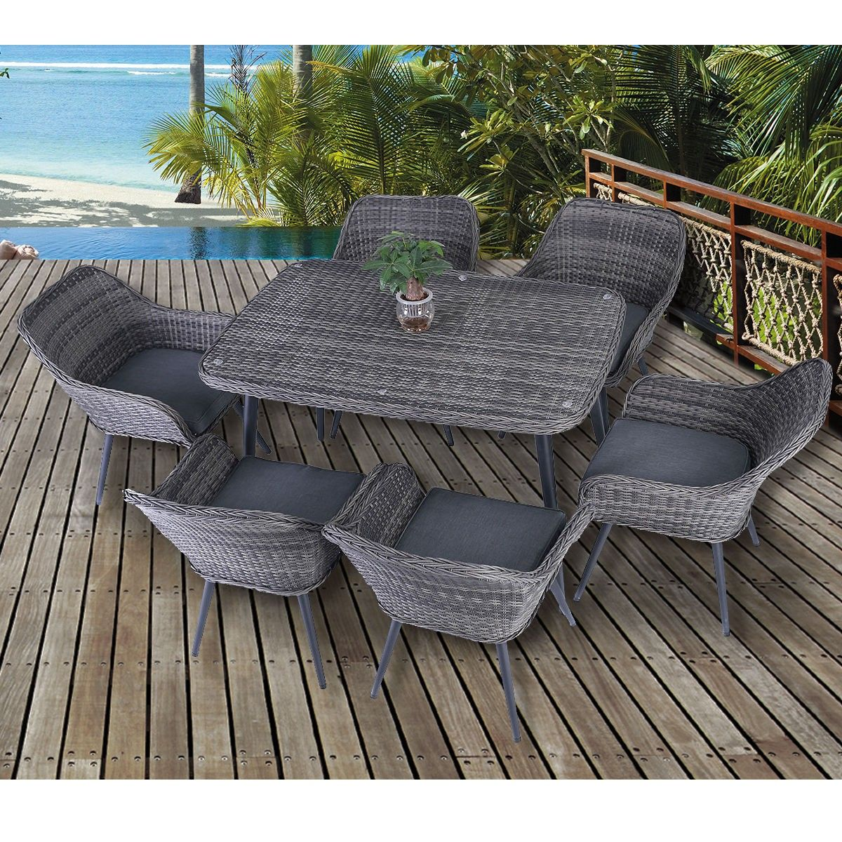 7 Pcs Patio Rattan Wicker Table Chairs Sofa Dining Furniture Set