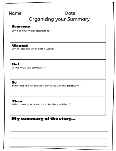 SWBST (Someone Wanted But So Then) graphic organizer. Use this ...