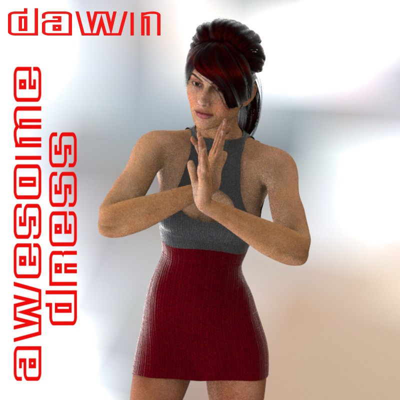 Dawn's Awesome Dress - $1.99 :  Dawn's Awesome dress for her summer fun.  This was made specifically for Dawn and her shapes. Does not work in Poser at this time.  You get 3 different colors and textures.  Needed:  PC/Mac Compatible  Daz 4+  Dawn by HiveWire3D