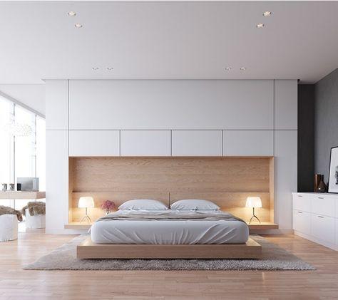 Chambre design avec rangements intégrés   http://www.m-habitat.fr ...