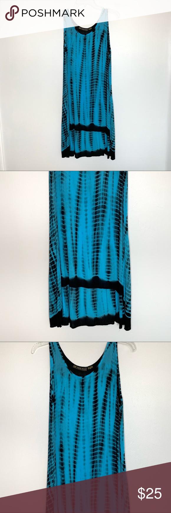 NEW Raya Sun Turqouise Black Tie Dye Dress Black tie
