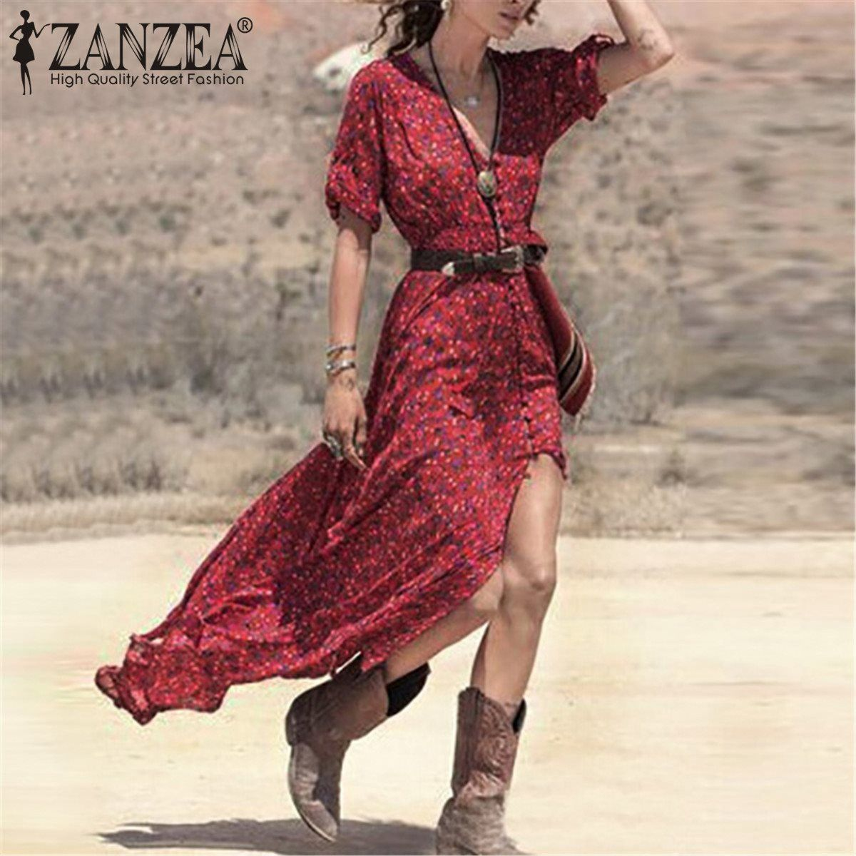 American boho for days this ankle length dress is made with a