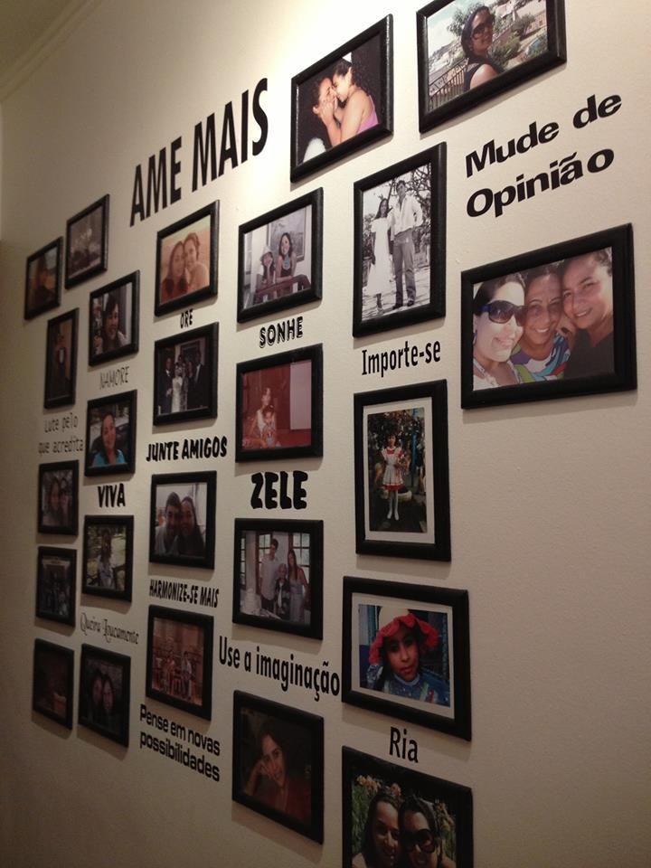 Mural de fotos em corredor AMAMOS DIY Mural de fotos Blog