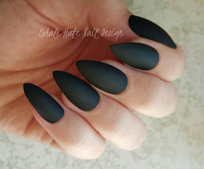 Matte / Glossy Black Press on Fake Nails - Stiletto, Square, Oval ...