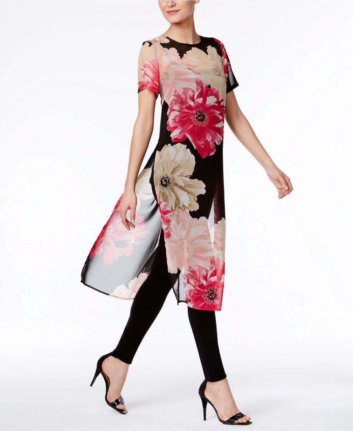 700ea4128 Calvin Klein Sheer Floral-Print Tunic - Tops - Women - Macy s