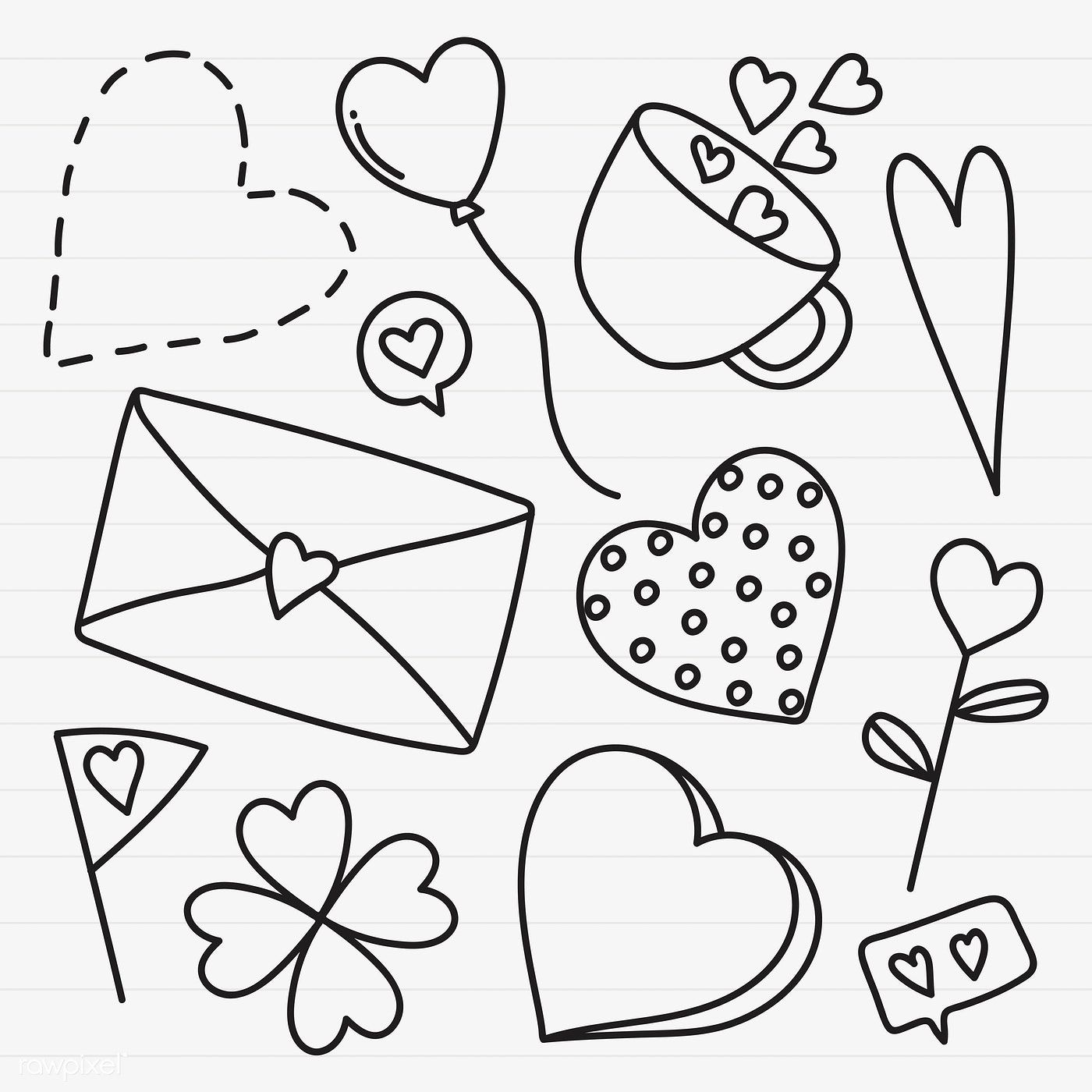 Download premium vector of Hand drawn love and valentine's