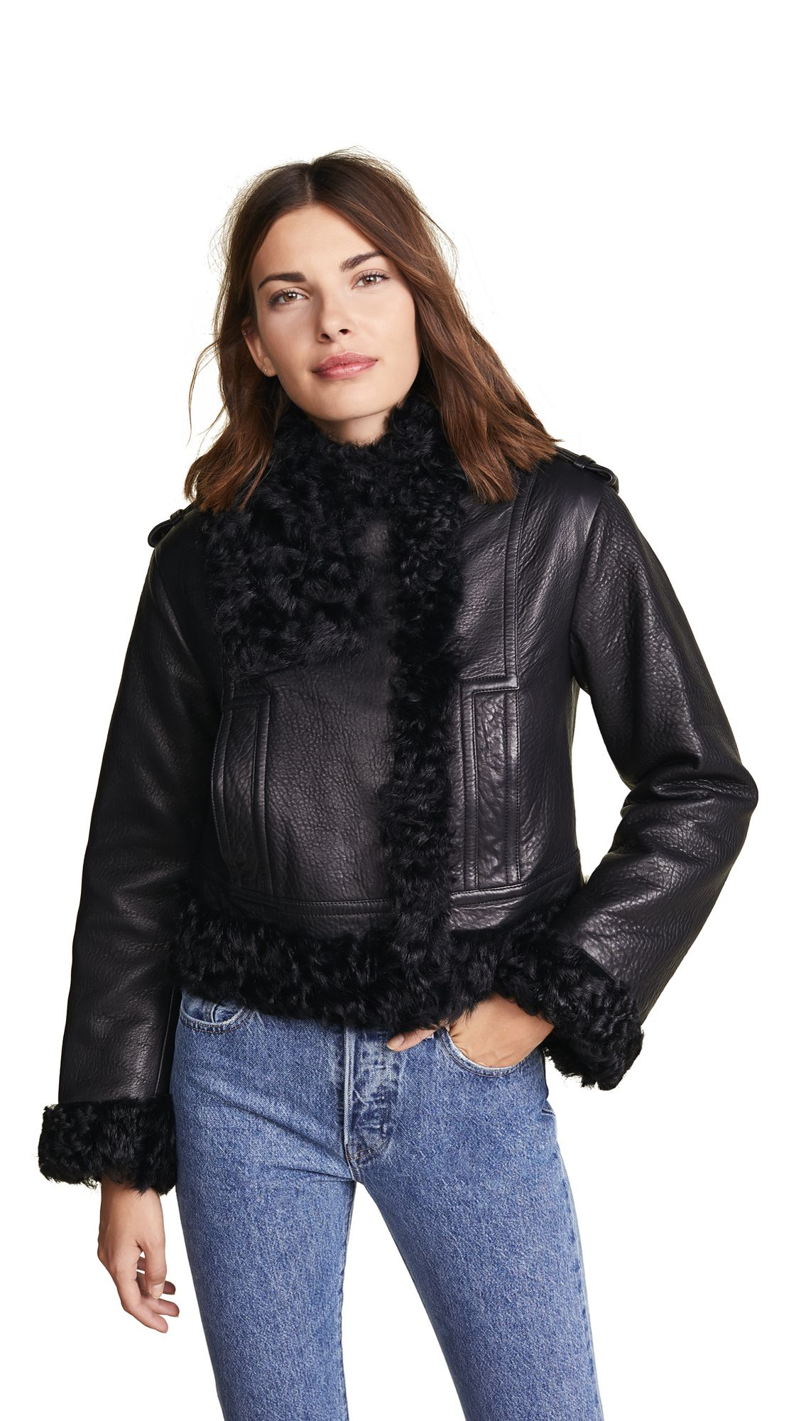Leather Shearling Moto Jacket Fashion clothes women