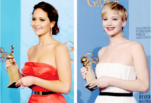Jennifer last year and this year with her Golden Globe awards :)