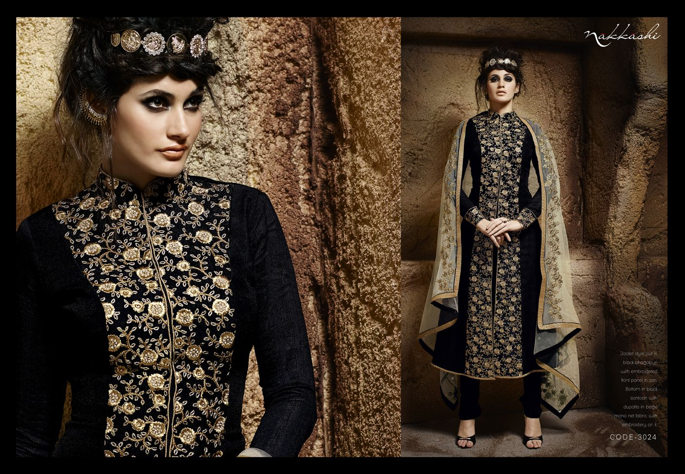 IMMORTAL Jacket Style Suit In Black Bhagalpuri With