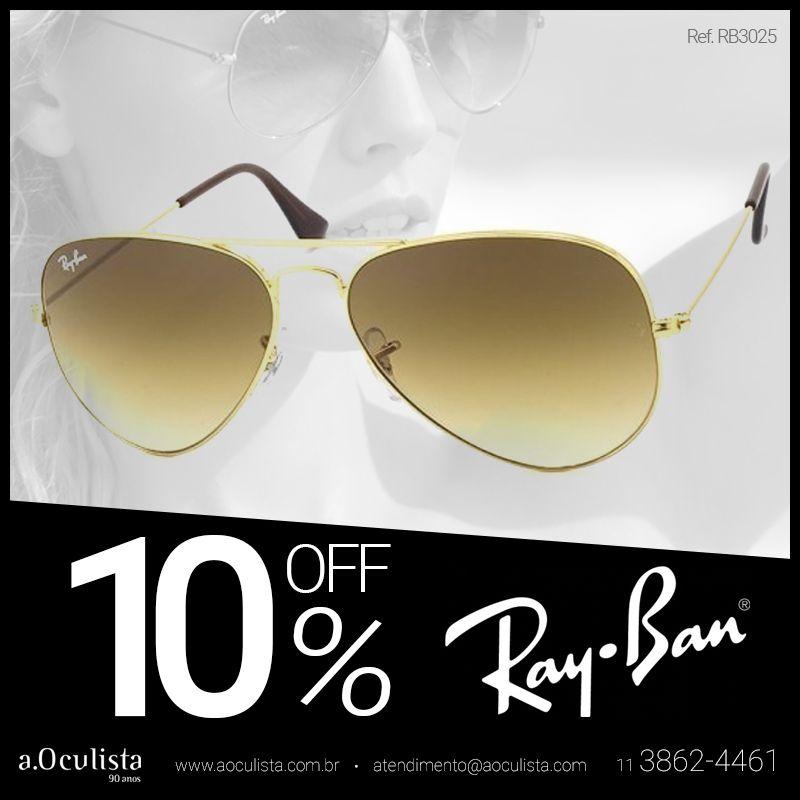 Ray Ban - Modelo Aviador Dourado com 10% de desconto! Clique https ... 445df624eb