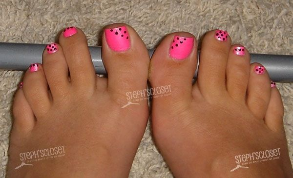 Pink nail polish pedi toenail art design