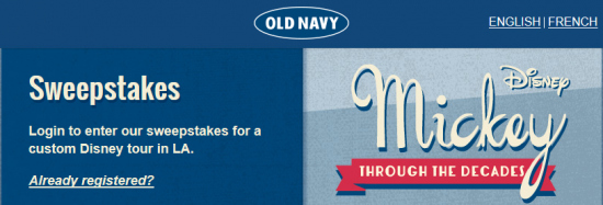 "Old Navy ""Magical Tour"" Sweepstakes – Win a trip to Los Angeles for a Disney Experience!"