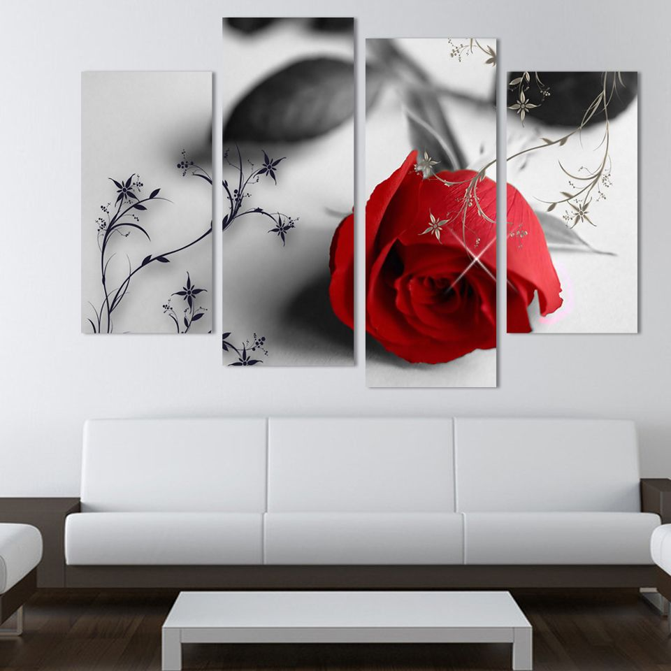 Wholesale pcs hot sell red flowers wall art picture modern home