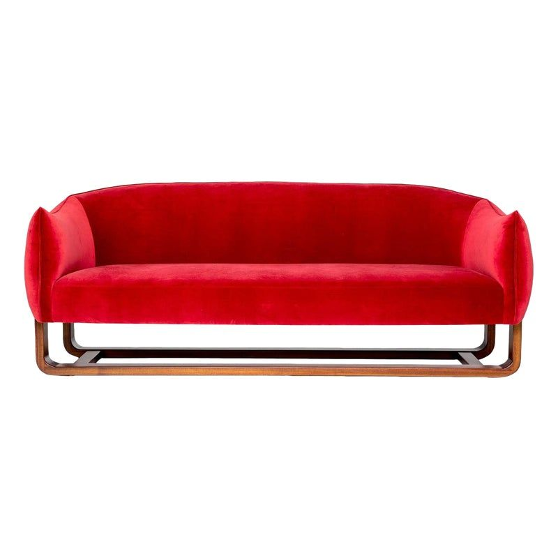Marie Burgos Design Red Milo Sofa In 2020 Sofa Mid Century Modern Sofa Red Sofa