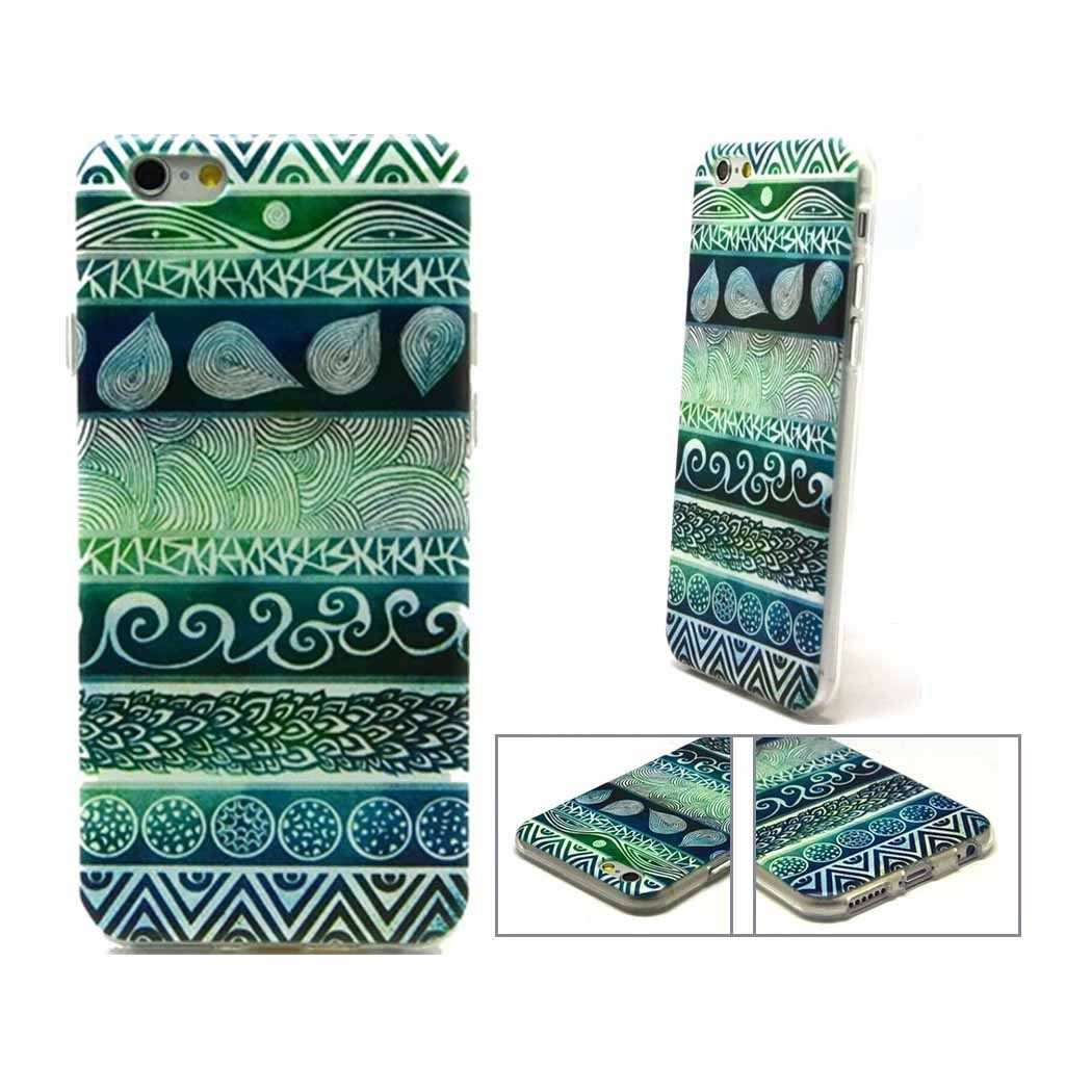 iPhone 6/6S TPU Soft Blue and Green Tribal Patterned Case.