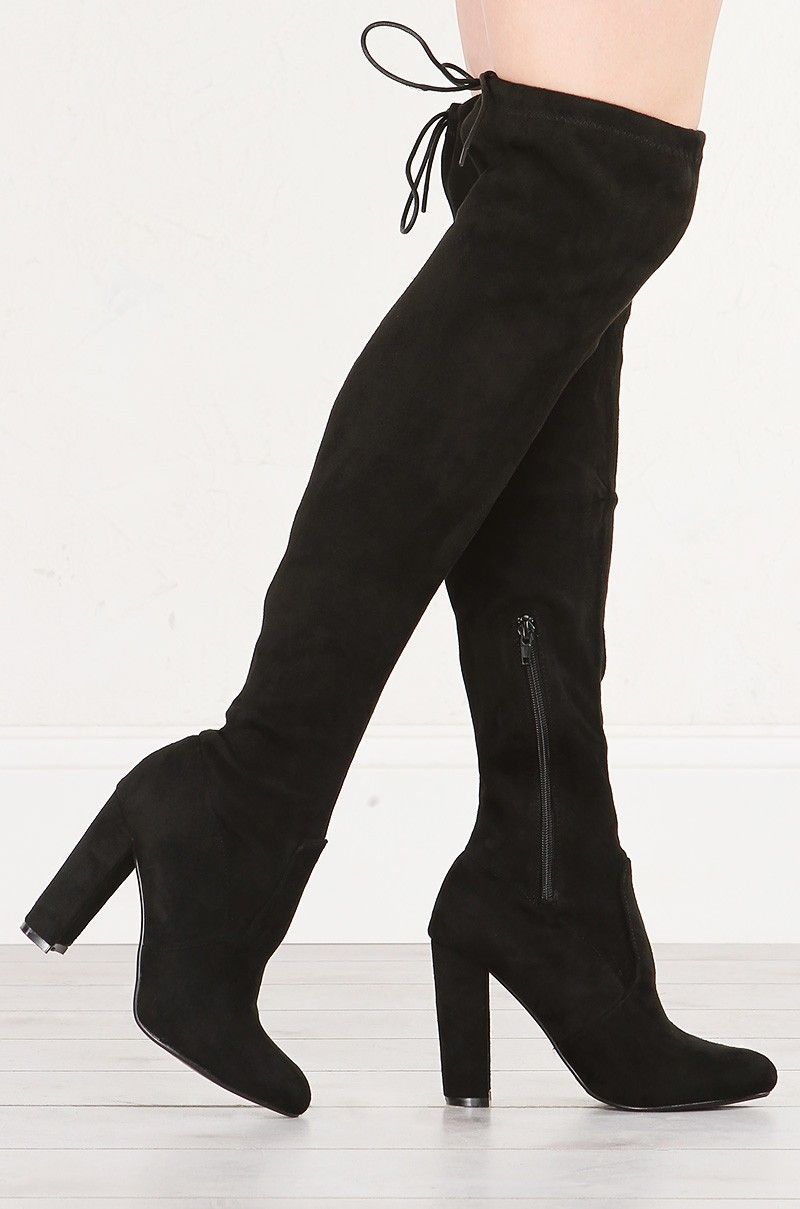 b76d010d504f Side View of Over The Knee Suede Boot in Black