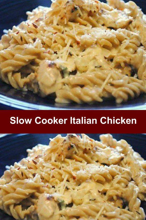 Slow Cooker Italian Chicken #crockpotchickeneasy